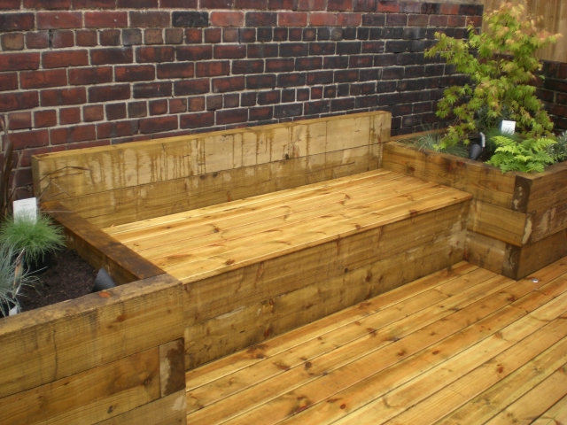 Sheffield landscapers railway sleepers raised beds sleeper for Garden designs sleepers