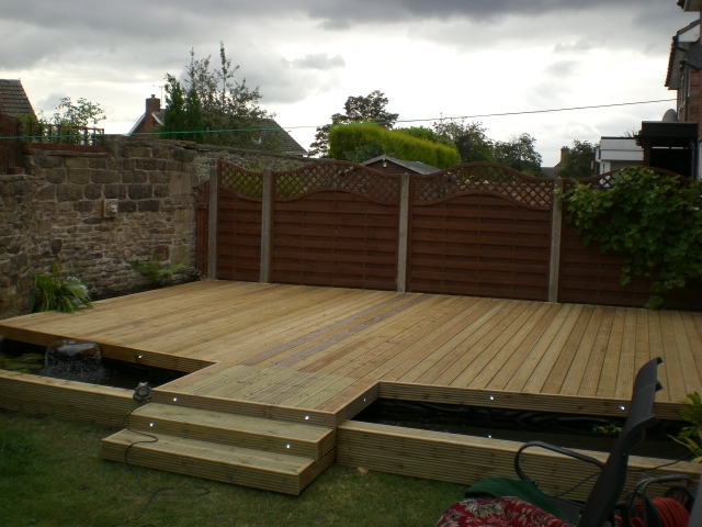 how to build a raised pond with decking