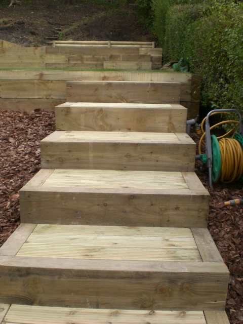 Close up of the sleeper and decking steps