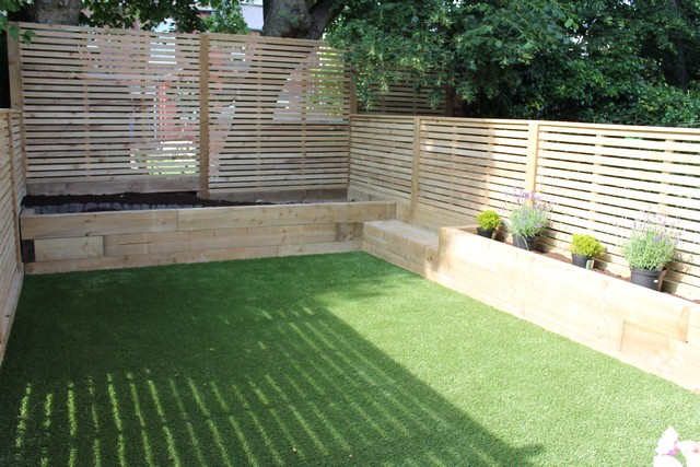 Sheffield landscaper gallery patios decking ponds fencing for Garden decking and grass ideas