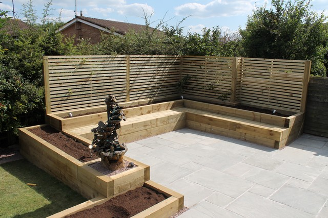 Sheffield builder landscaper gallery images of houses and for Garden designs sleepers