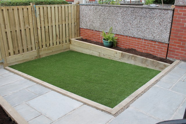 Sheffield landscaper gallery patios decking ponds fencing for Garden decking and grass